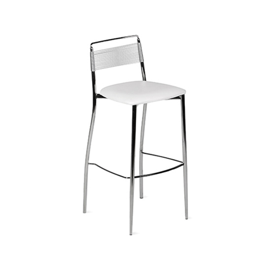 Silk Back Bar Stool - White
